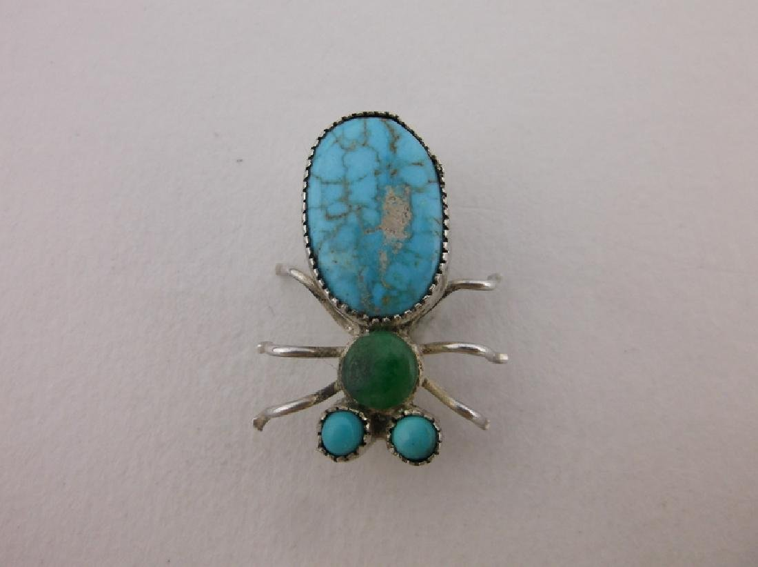 Rare Antique Navajo Sterling Turquoise Insect Brooch - 2