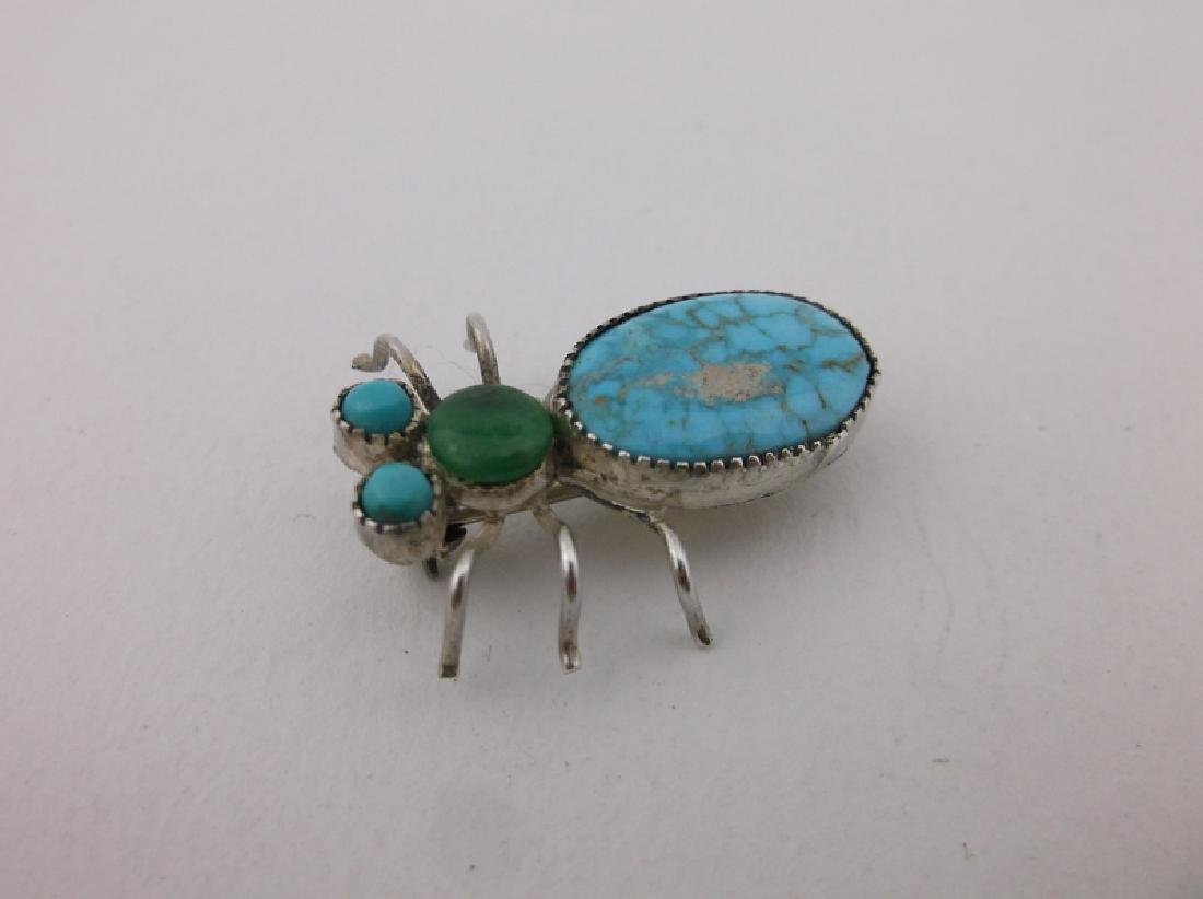 Rare Antique Navajo Sterling Turquoise Insect Brooch - 3