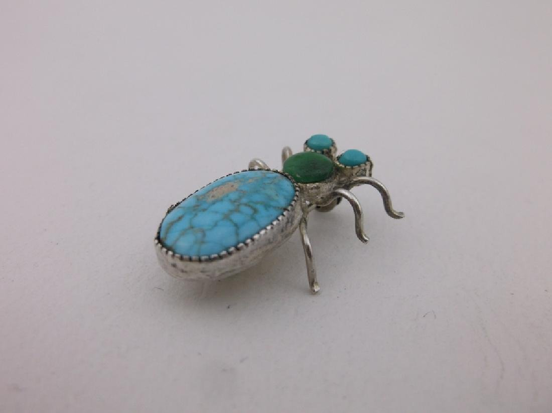 Rare Antique Navajo Sterling Turquoise Insect Brooch - 4