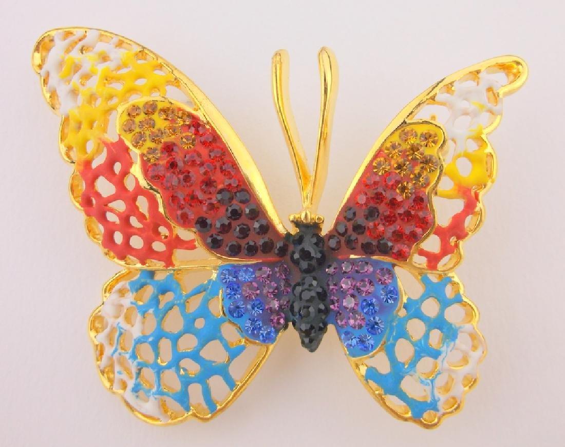 Incredible Enameled Rhinestone Butterfly Brooch