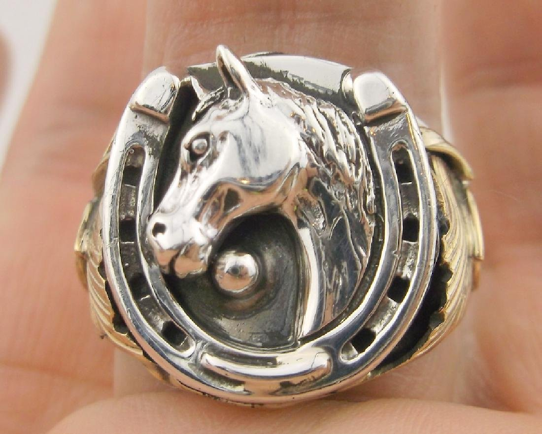 Smith Silver Ray Navajo Sterling Horse Ring 12 Stunning