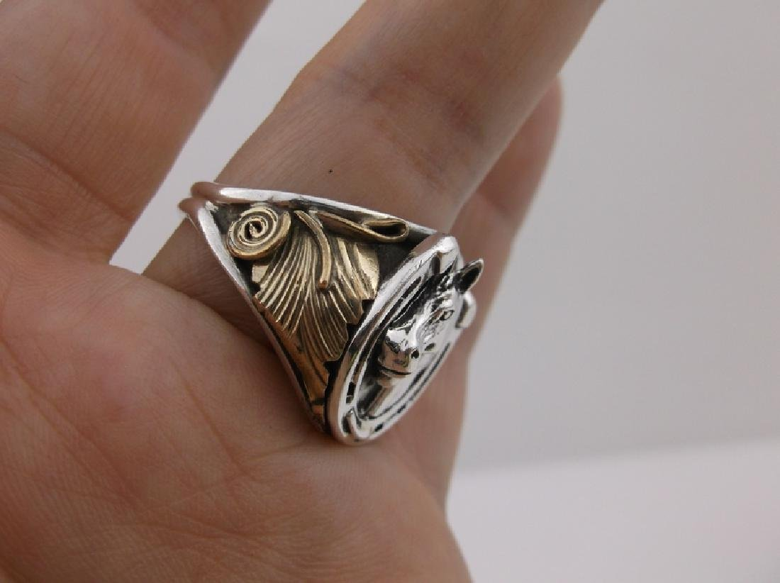 Smith Silver Ray Navajo Sterling Horse Ring 12 Stunning - 4