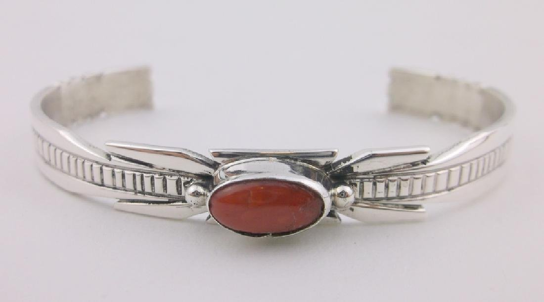Ray Begay Navajo Sterling Red Coral Cuff Bracelet