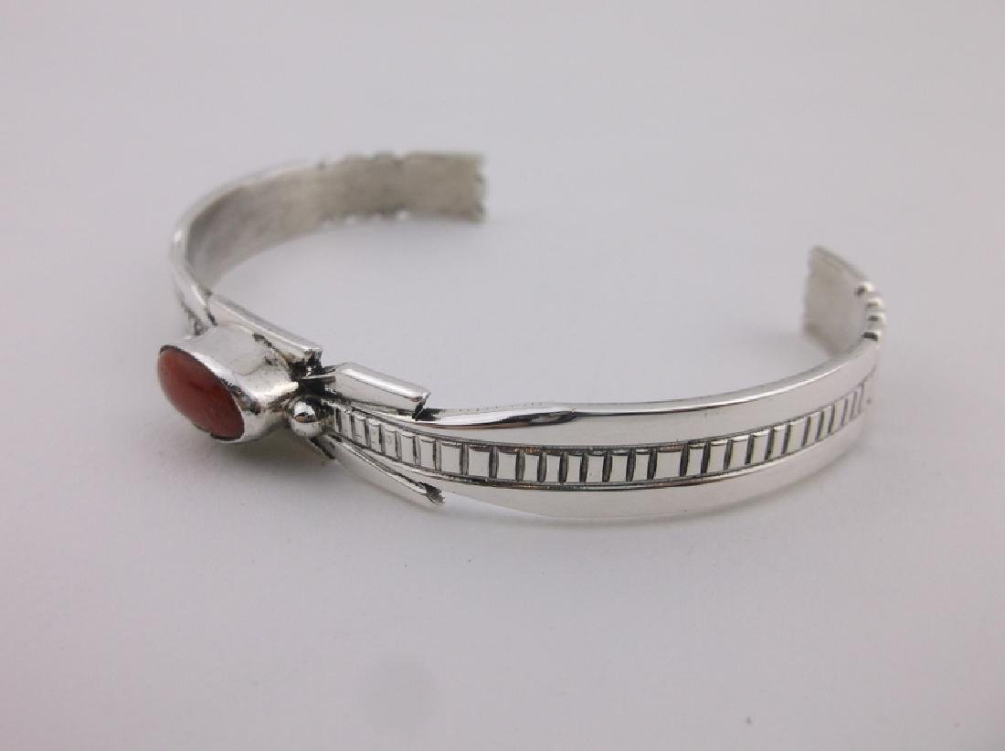 Ray Begay Navajo Sterling Red Coral Cuff Bracelet - 2