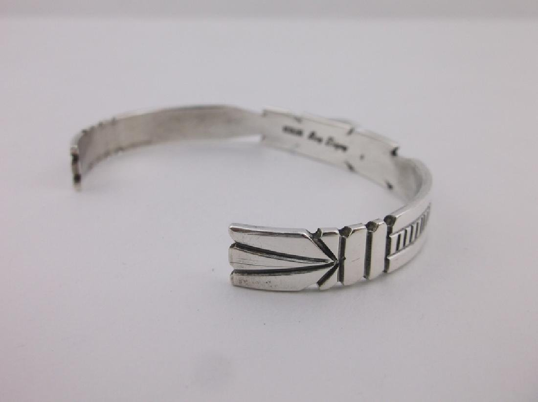 Ray Begay Navajo Sterling Red Coral Cuff Bracelet - 3