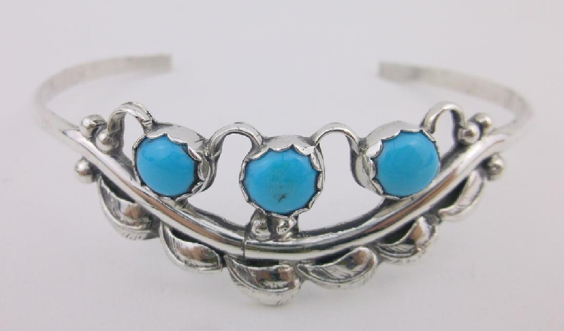 Stunning Navajo Sterling Turquoise Cuff Bracelet