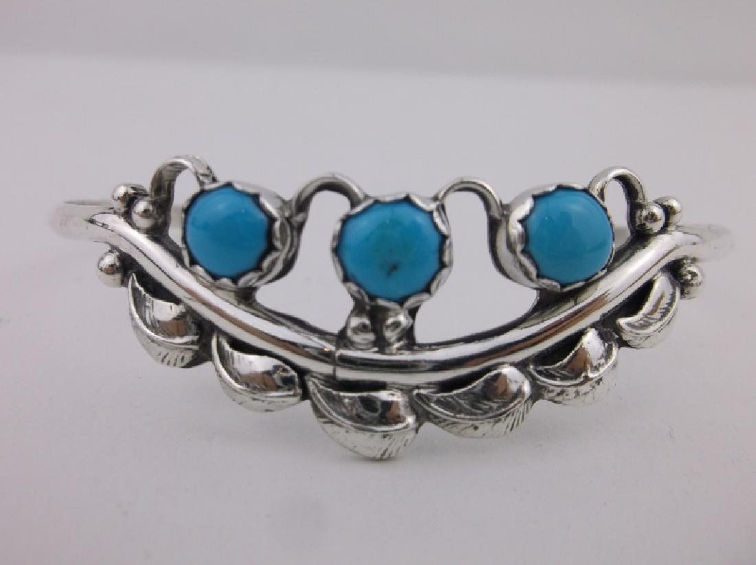 Stunning Navajo Sterling Turquoise Cuff Bracelet - 2
