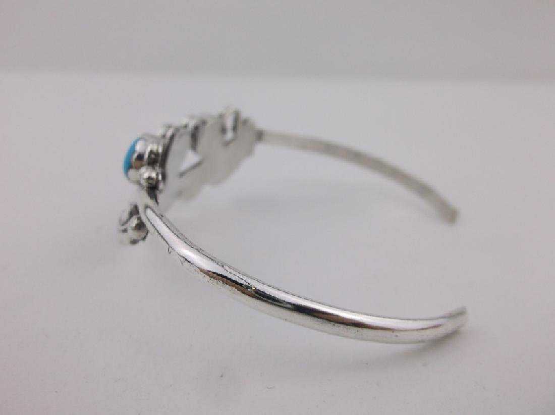 Stunning Navajo Sterling Turquoise Cuff Bracelet - 3