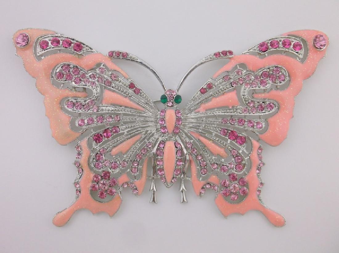 GIANT Enameled Rhinestone Butterfly Brooch Incredible