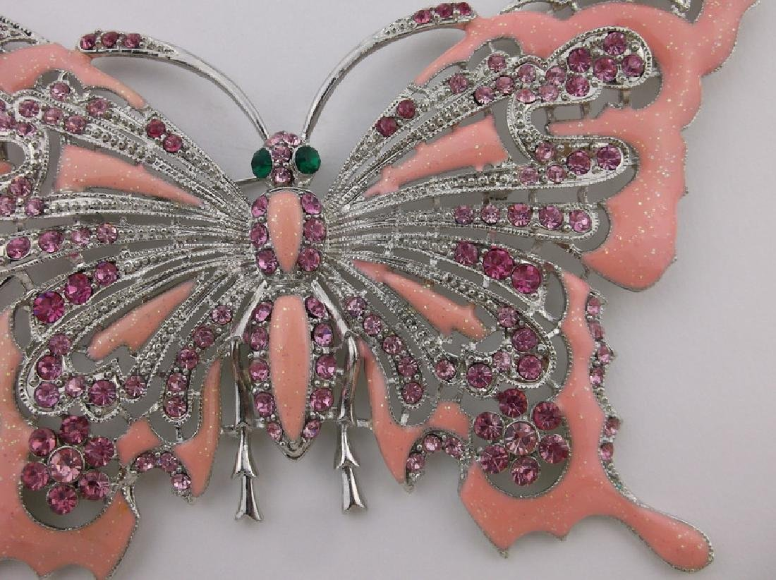 GIANT Enameled Rhinestone Butterfly Brooch Incredible - 2