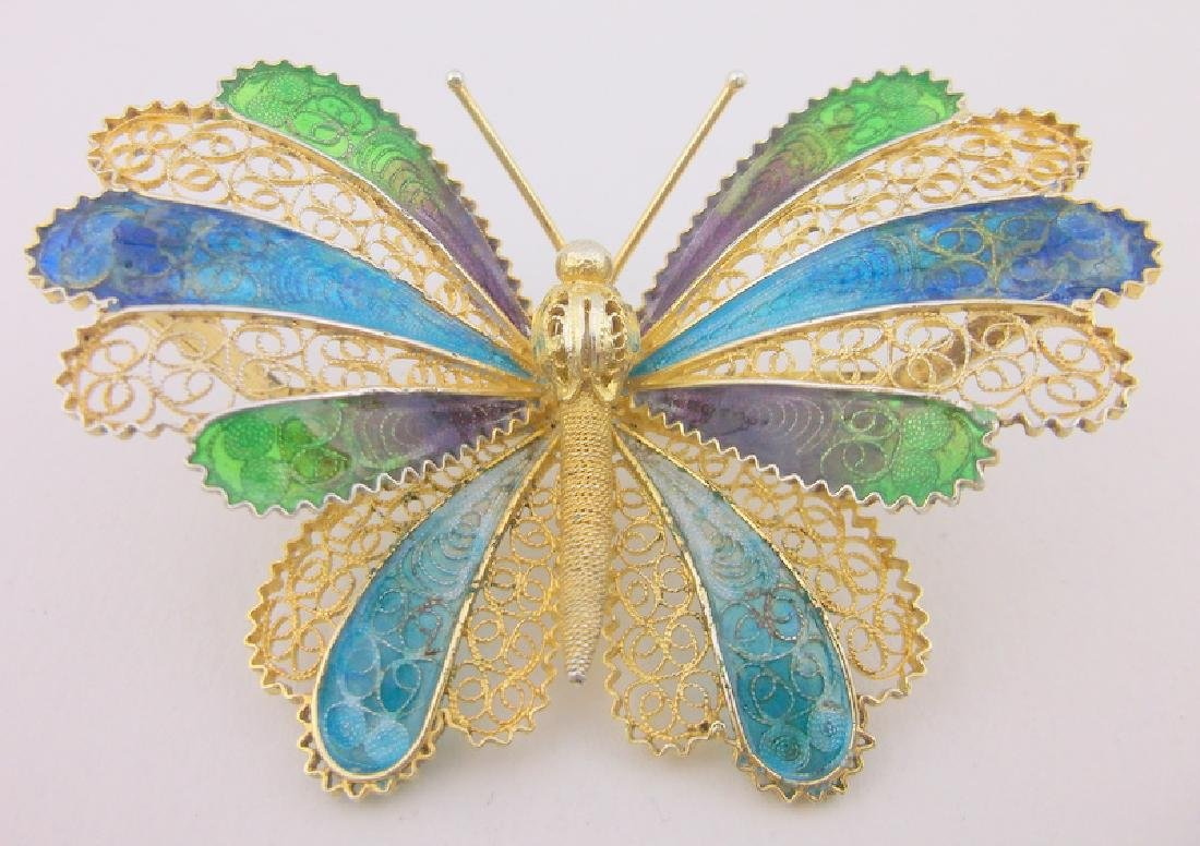 Incredible Antique Sterling Enameled Butterfly Brooch