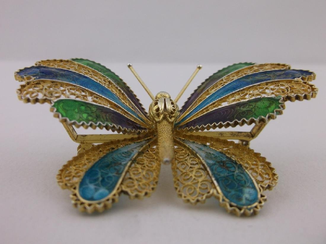 Incredible Antique Sterling Enameled Butterfly Brooch - 2