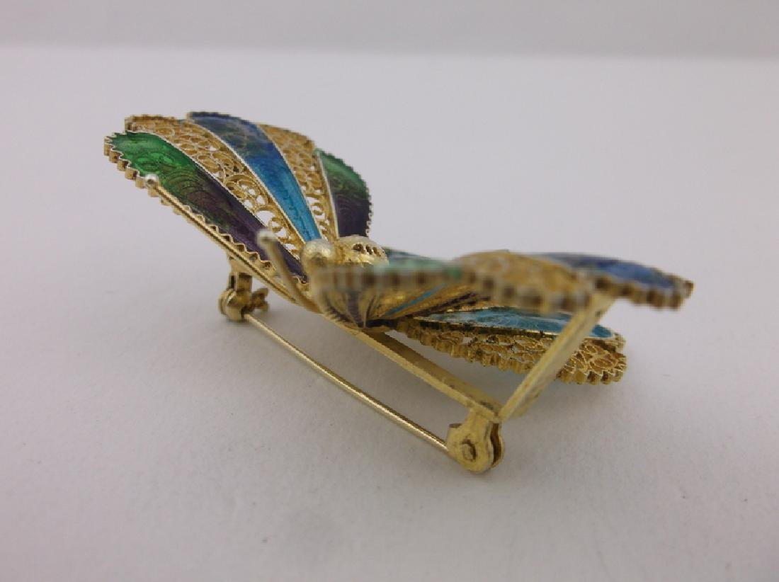 Incredible Antique Sterling Enameled Butterfly Brooch - 4