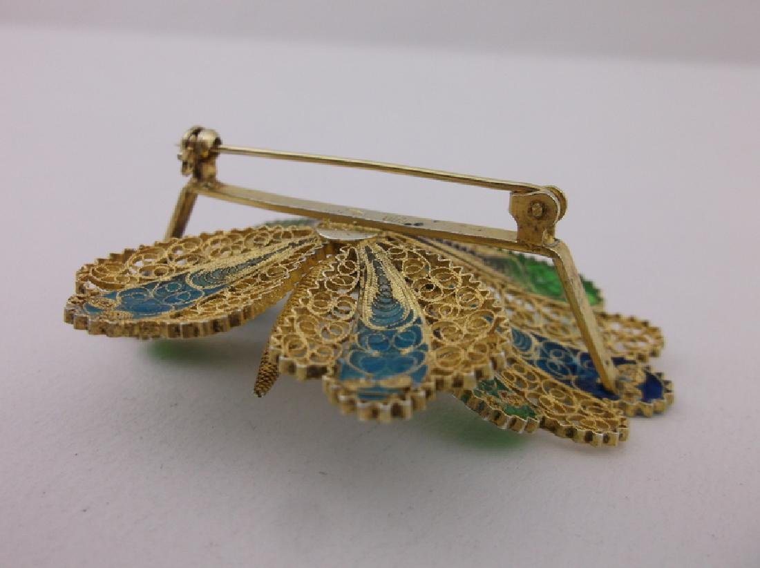 Incredible Antique Sterling Enameled Butterfly Brooch - 5