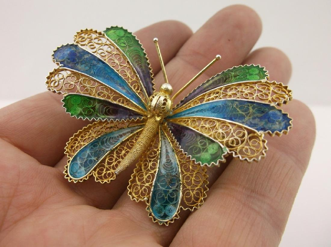 Incredible Antique Sterling Enameled Butterfly Brooch - 7