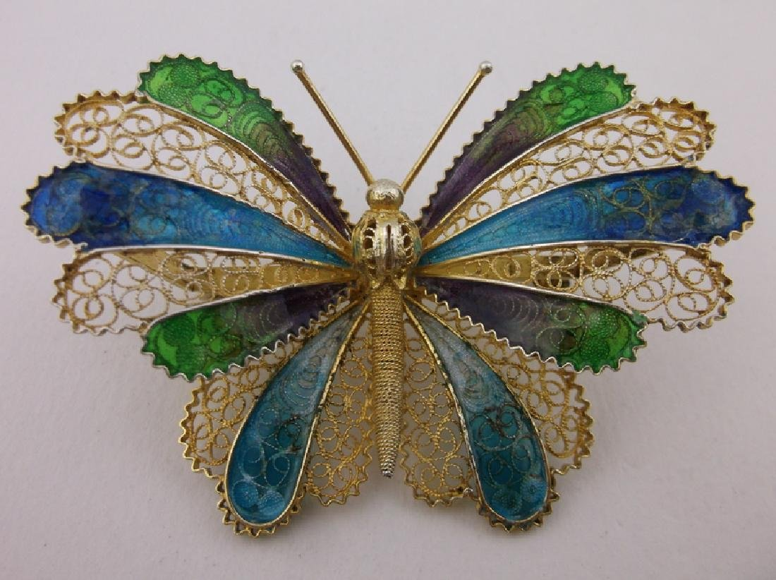 Incredible Antique Sterling Enameled Butterfly Brooch - 8
