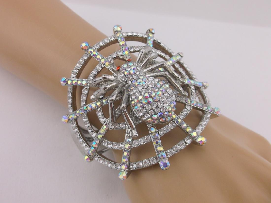 Stunning Huge Rhinestone Spider Web Bracelet