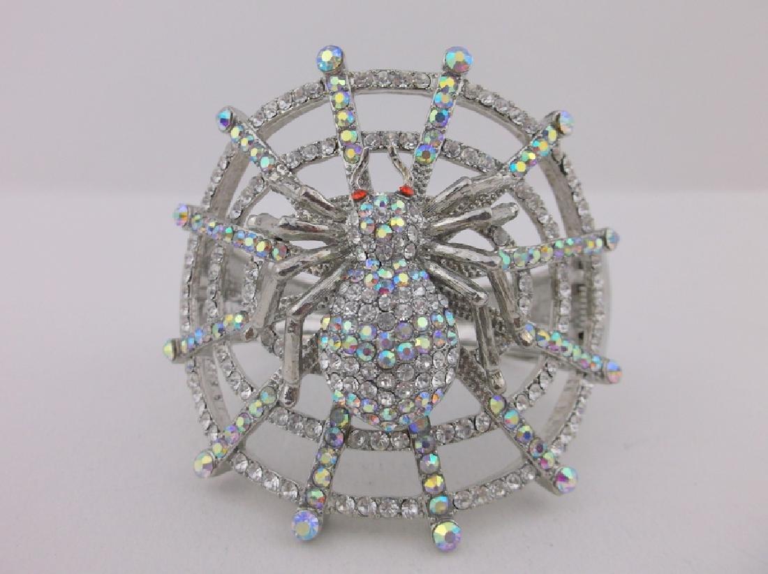 Stunning Huge Rhinestone Spider Web Bracelet - 2