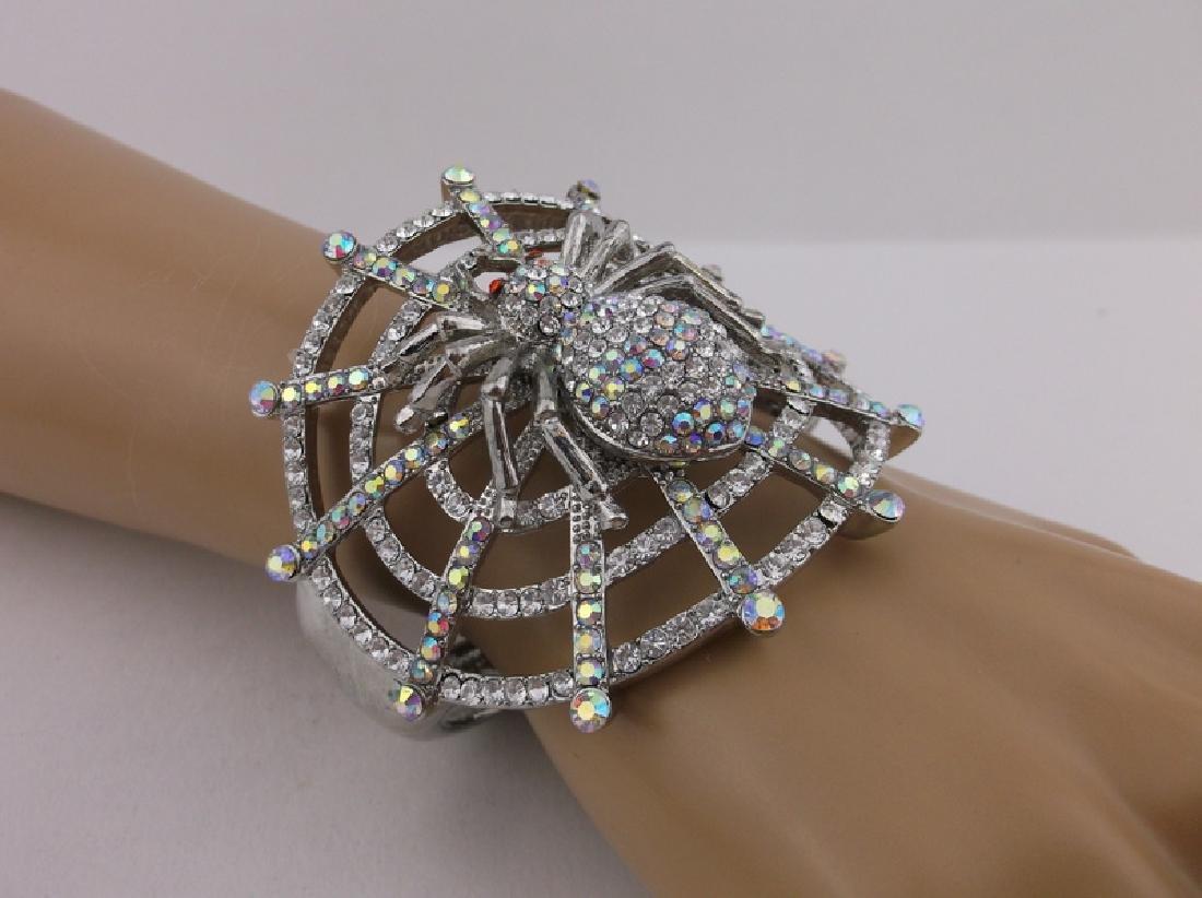 Stunning Huge Rhinestone Spider Web Bracelet - 3