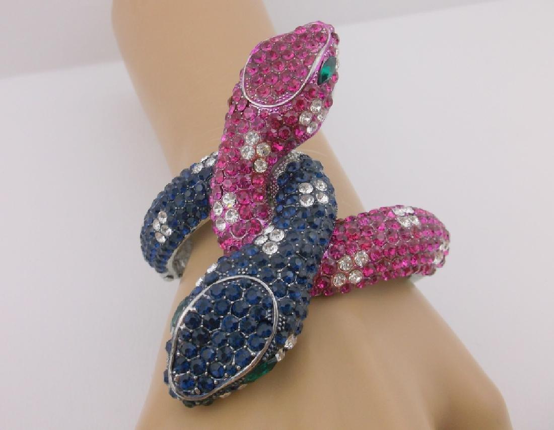 Incredible Huge Rhinestone Double Snake Bracelet