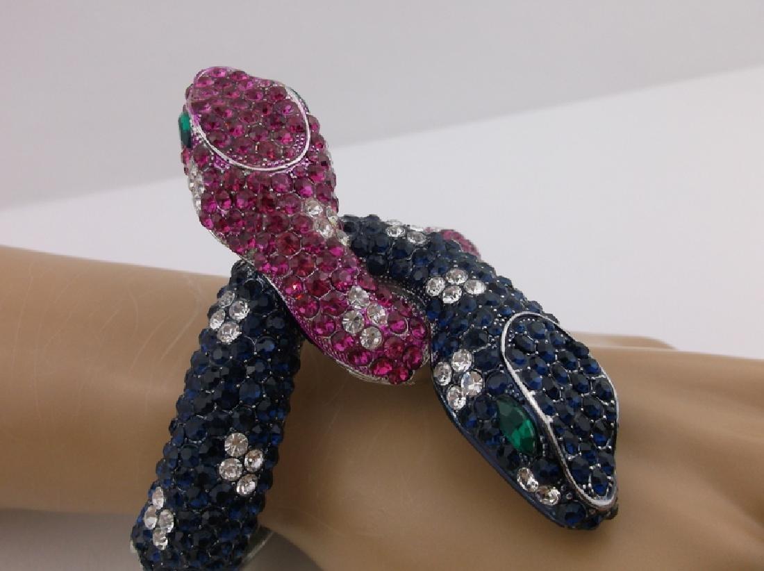 Incredible Huge Rhinestone Double Snake Bracelet - 4