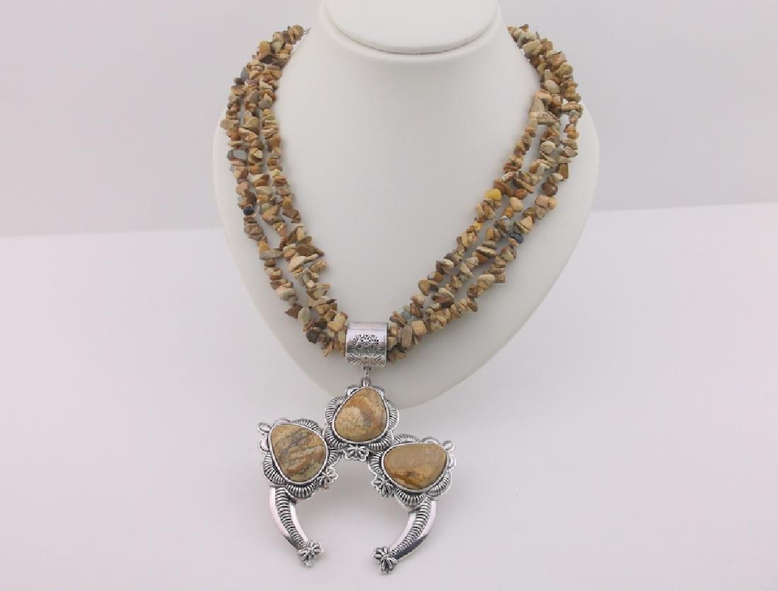 "Stunning Huge Genuine Jasper Southwestern Necklace 20"""