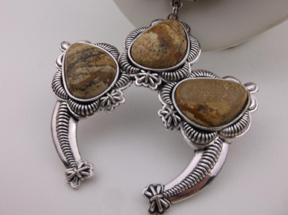 "Stunning Huge Genuine Jasper Southwestern Necklace 20"" - 2"