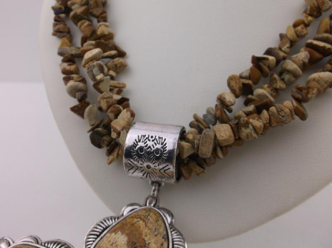 "Stunning Huge Genuine Jasper Southwestern Necklace 20"" - 3"