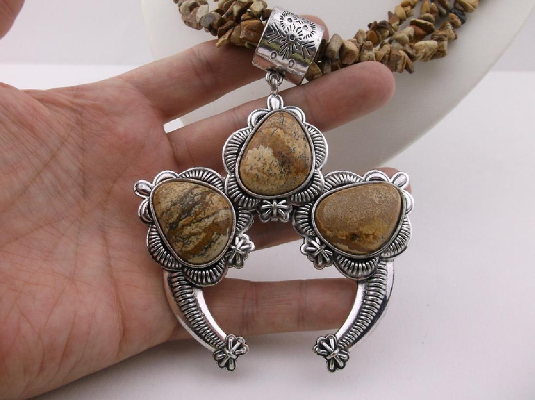 "Stunning Huge Genuine Jasper Southwestern Necklace 20"" - 5"