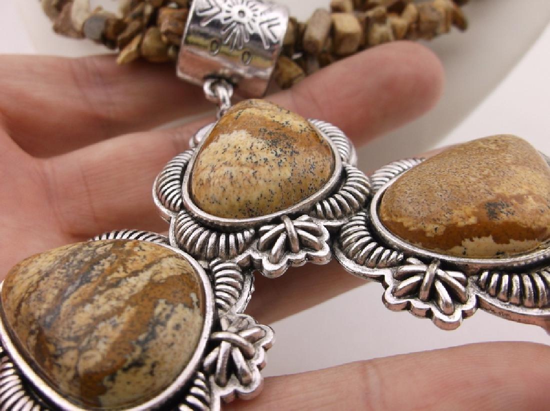 "Stunning Huge Genuine Jasper Southwestern Necklace 20"" - 6"