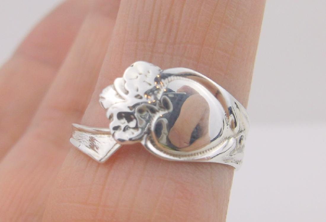 Stunning Antique P & B Sterling Spoon Ring 7.5