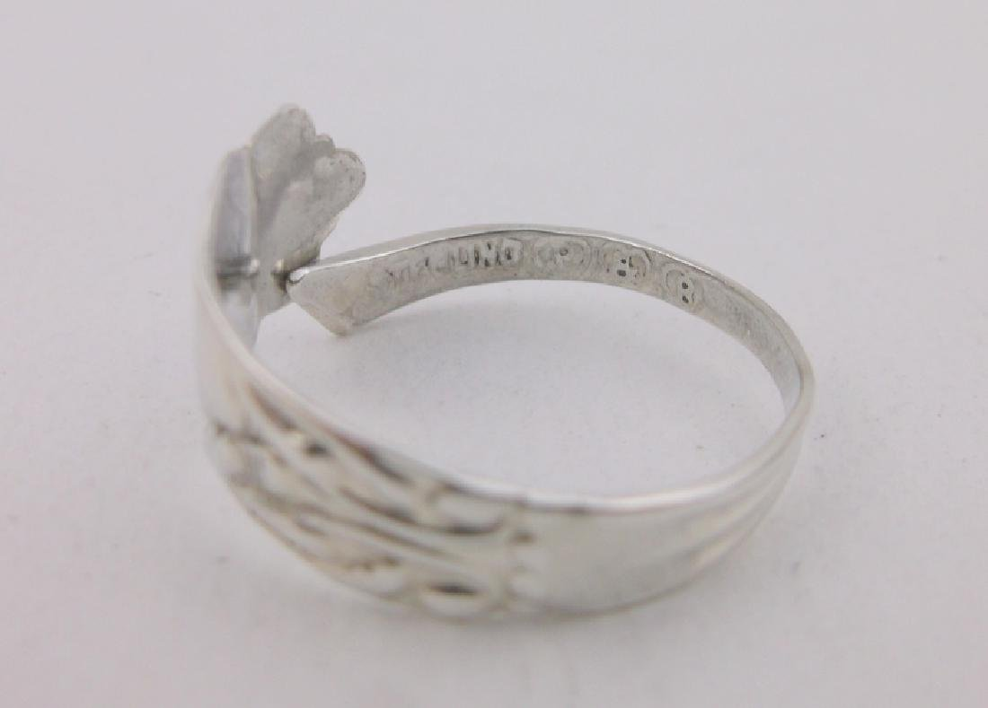 Stunning Antique P & B Sterling Spoon Ring 7.5 - 2