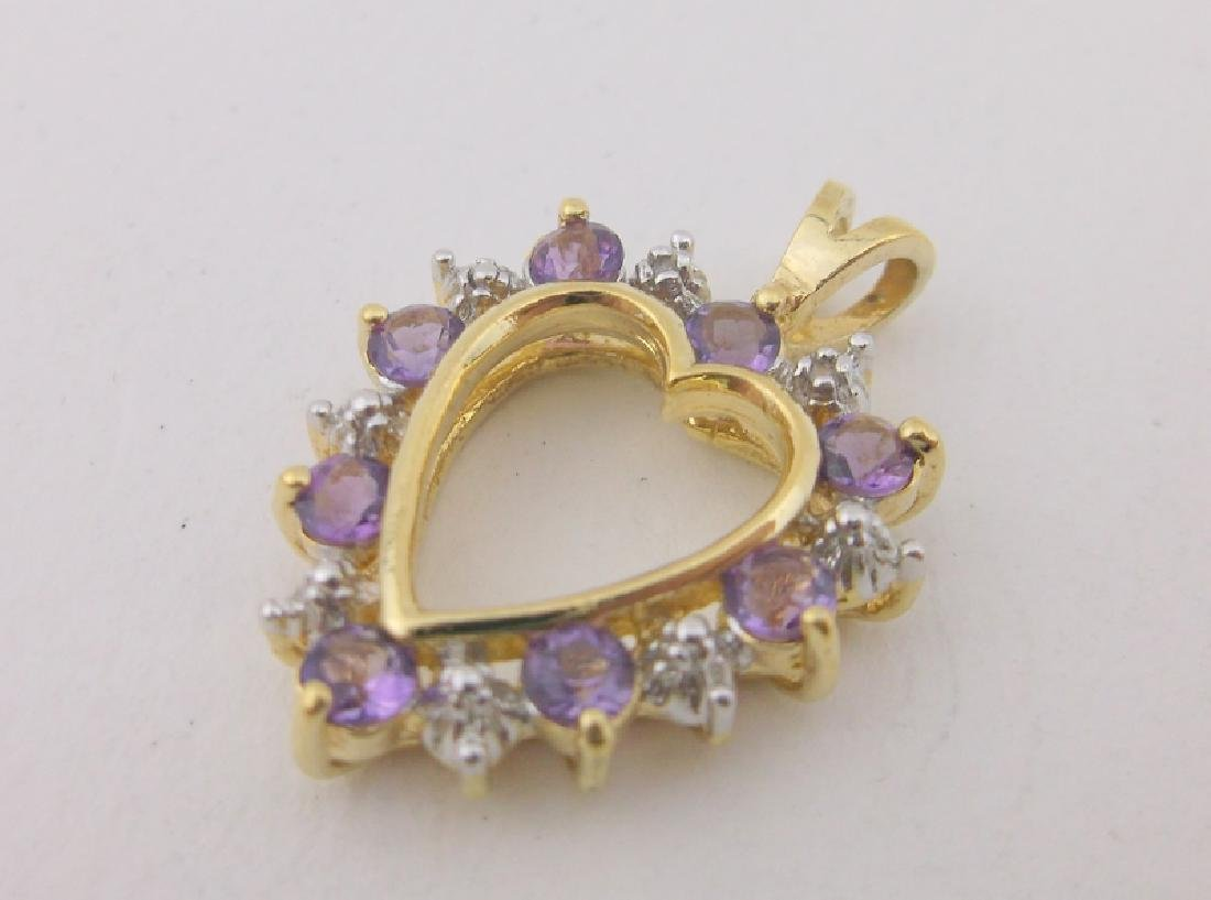 Gold Over Sterling Diamond Amethyst Pendant