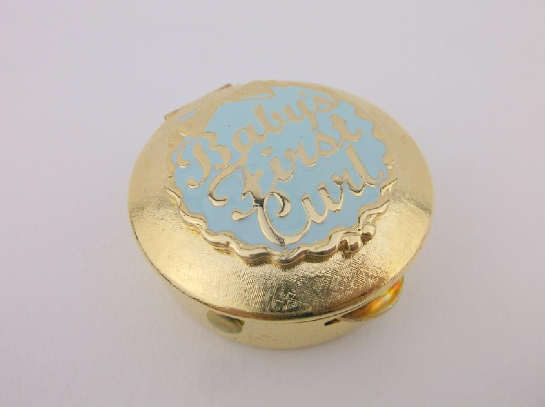 Stunning Vint Enameled Babys First Curl Box