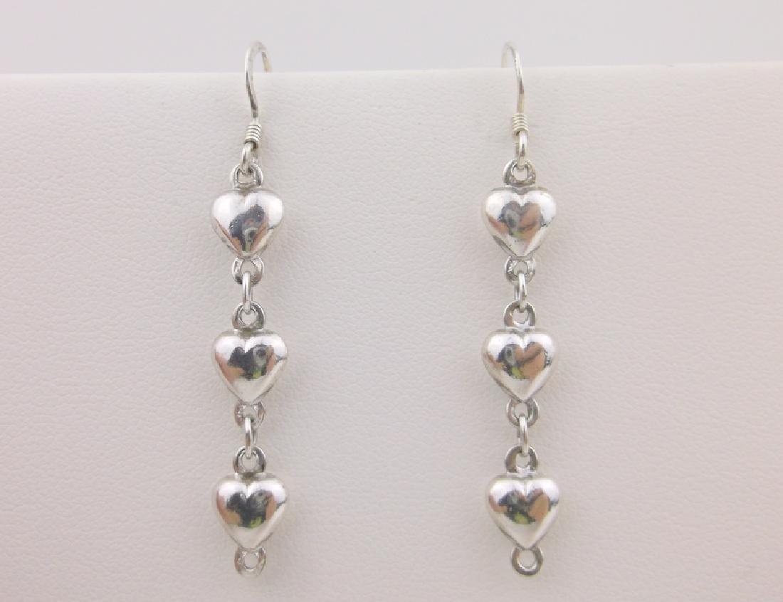 Stunning Vint Sterling Silver Heart Drop Earrings