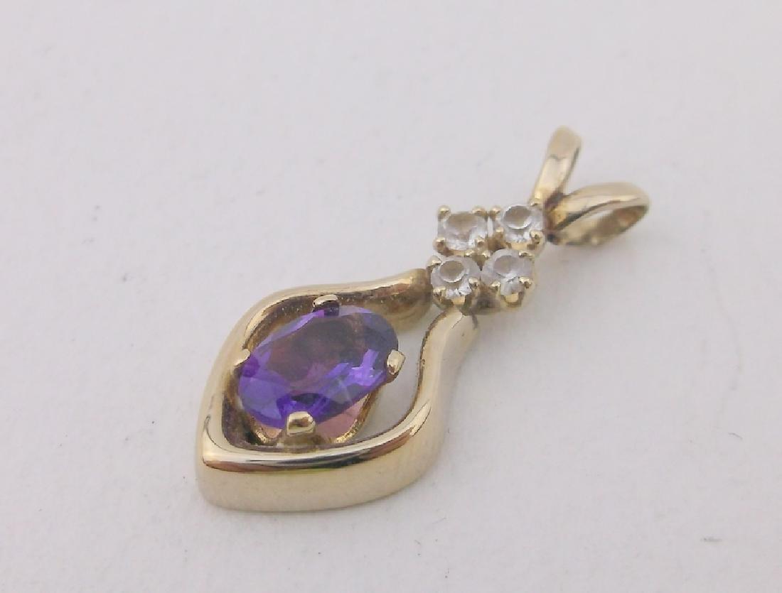 Stunning 10kt Gold Diamond Amethyst Pendant