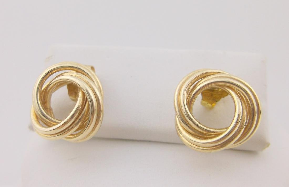 Stunning Thick 14kt Gold Stud Earrings Knot