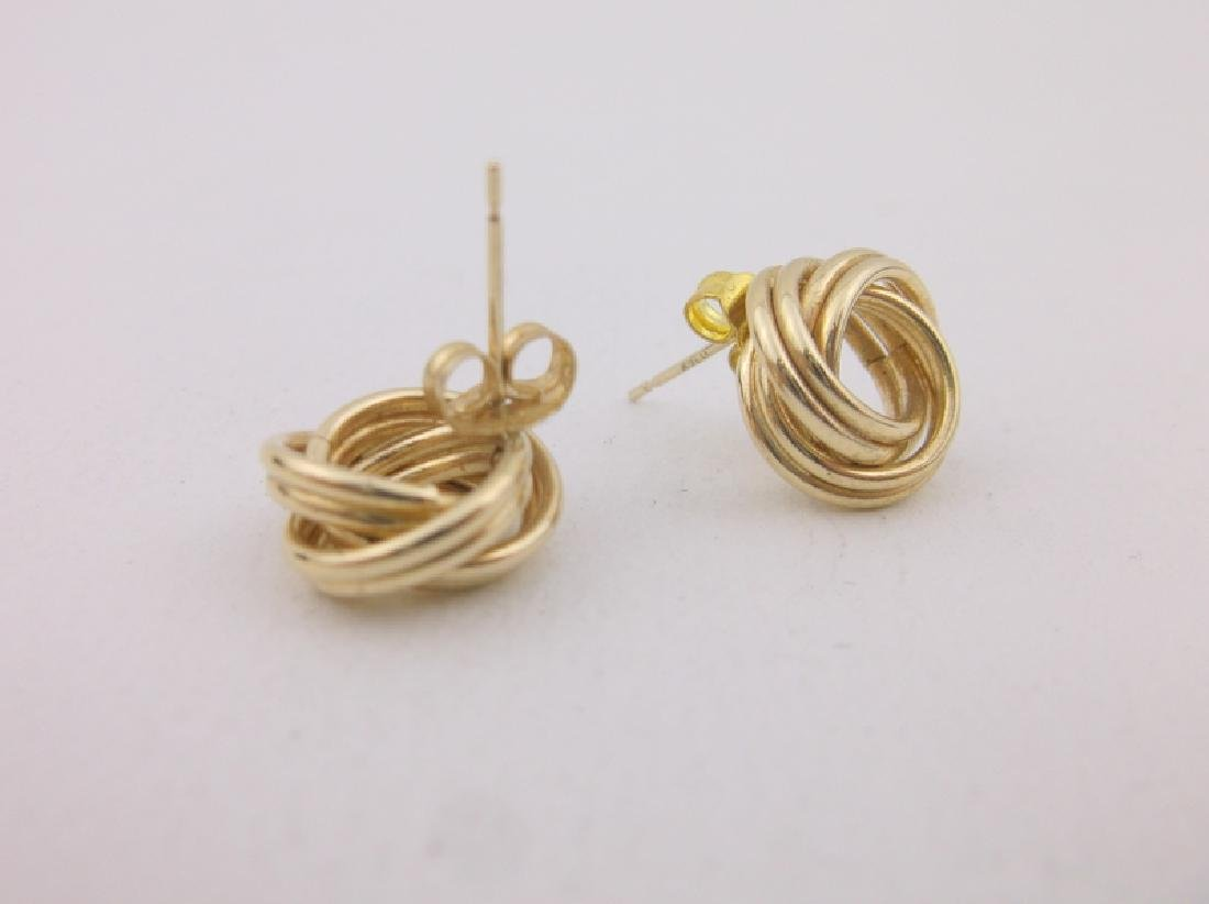 Stunning Thick 14kt Gold Stud Earrings Knot - 2