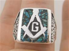 Rare Vintage Navajo Sterling Turquoise Masonic Ring 13