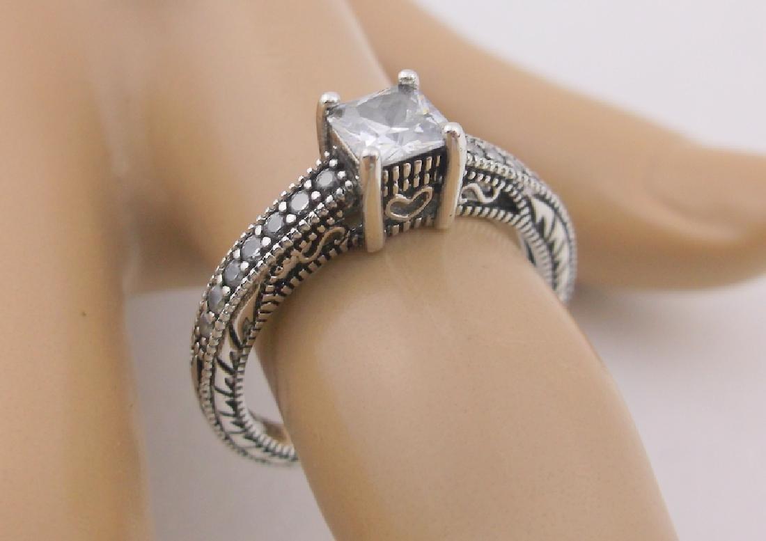 Stunning Ornate Sterling Engagement Ring 8