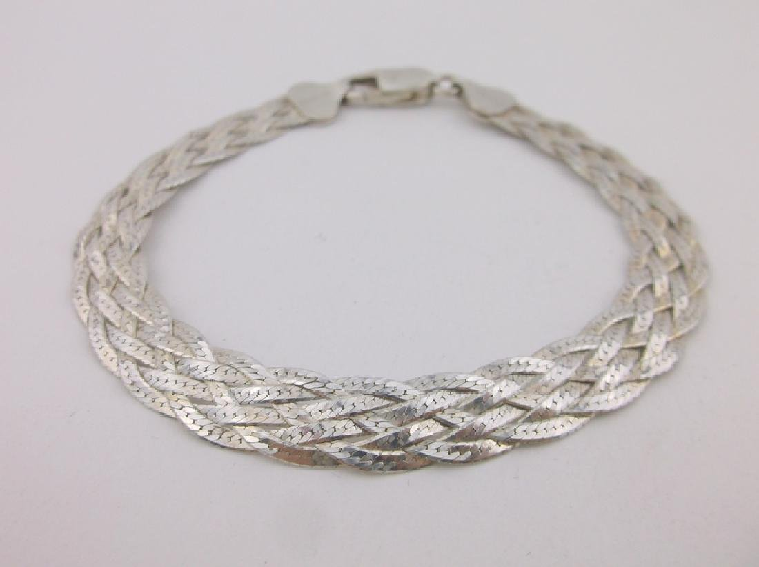 Gorgeous Wide Sterling Silver Braided Bracelet