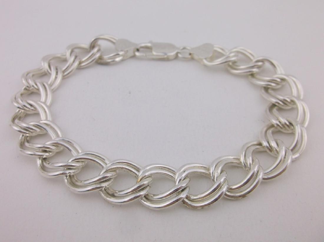 "Stunning Huge Sterling Silver Chain Bracelet 8"""
