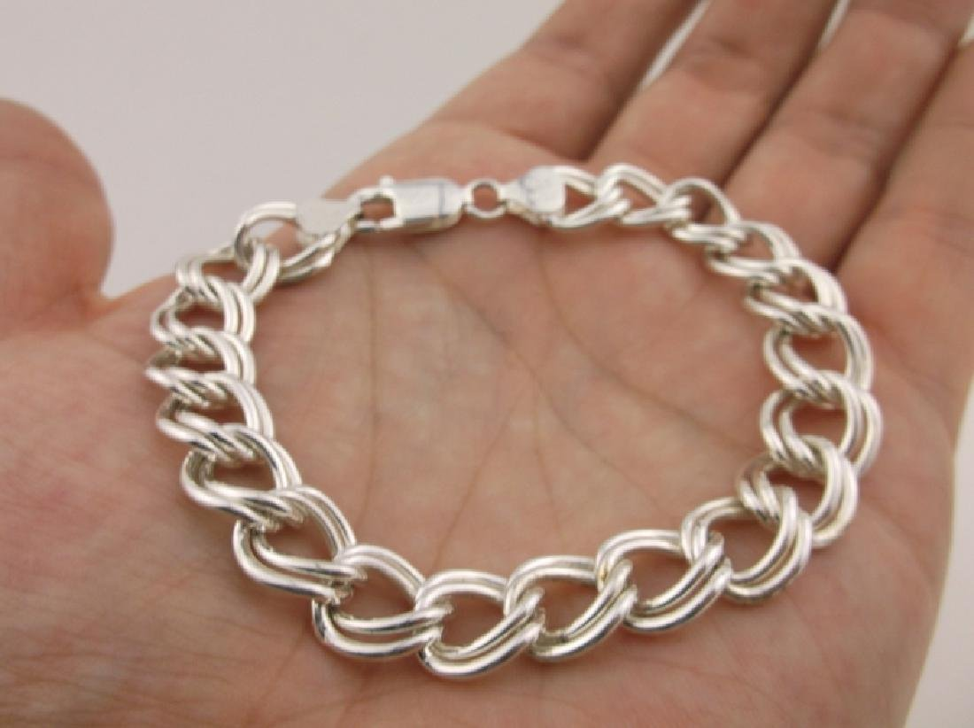 "Stunning Huge Sterling Silver Chain Bracelet 8"" - 2"