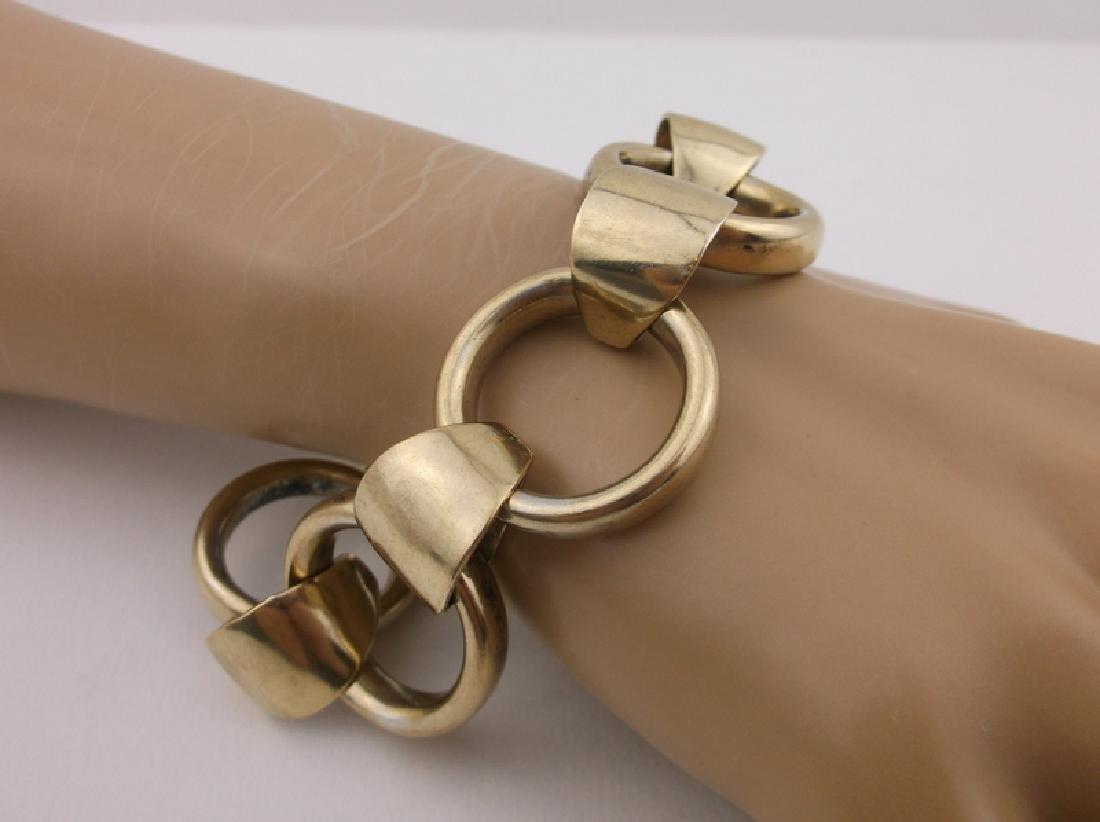 """Huge Heavy Antique Gold Over Sterling Bracelet 8"""" - 4"""