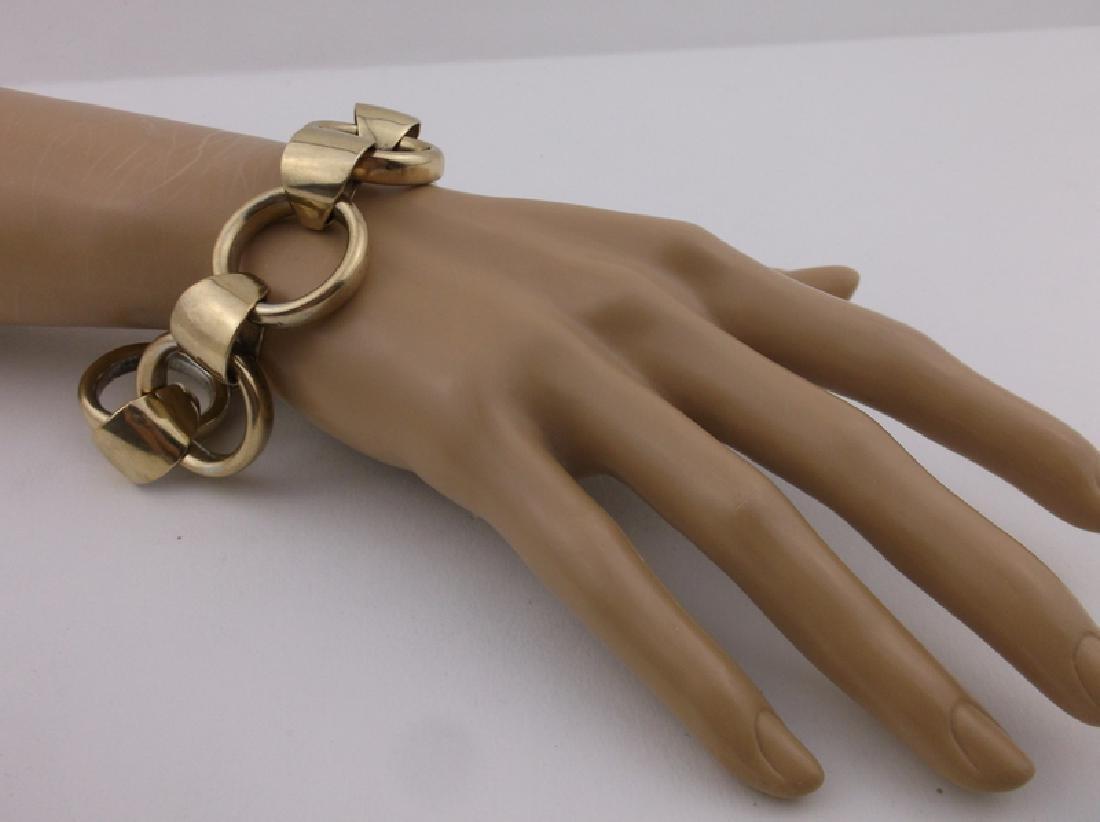 """Huge Heavy Antique Gold Over Sterling Bracelet 8"""" - 5"""