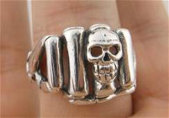 Stunning Heavy Sterling Skull Skeleton Fist Ring 95