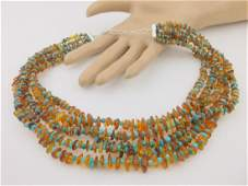 Desert Rose Trading Sterling Turquoise Amber Necklace