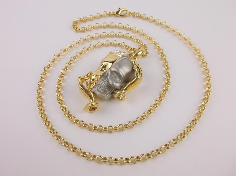 """Incredible Half Skull Half Face Rhinestone Necklace 22"""""""