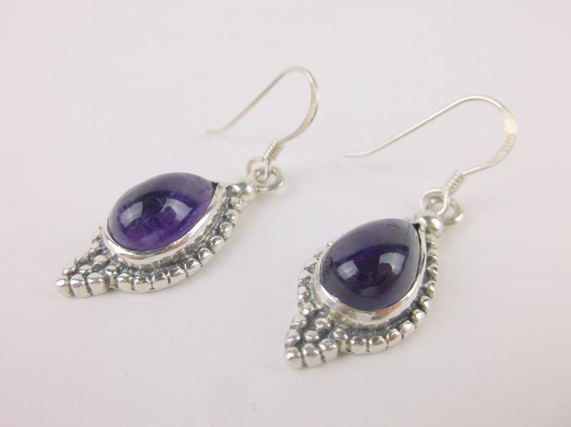 Stunning Heavy Sterling Silver Amethyst Earrings