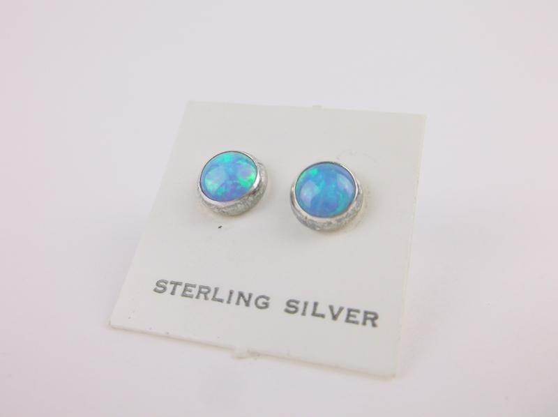 Gorgeous Vintage Navajo Sterling Opal Stud Earrings